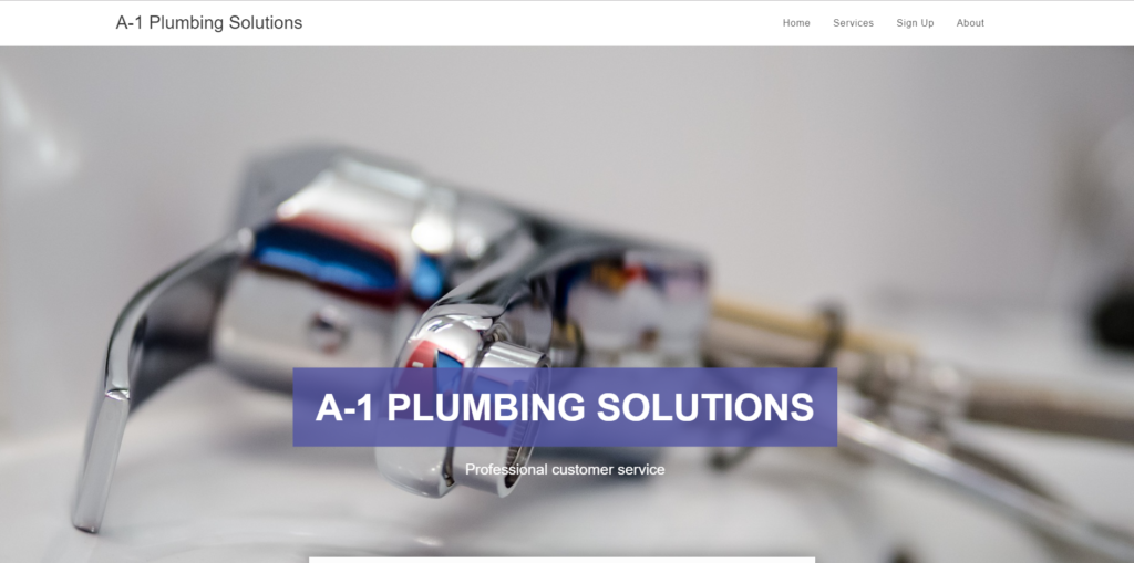 A1 plumbing solutions website portfolio from Fitfox Marketing