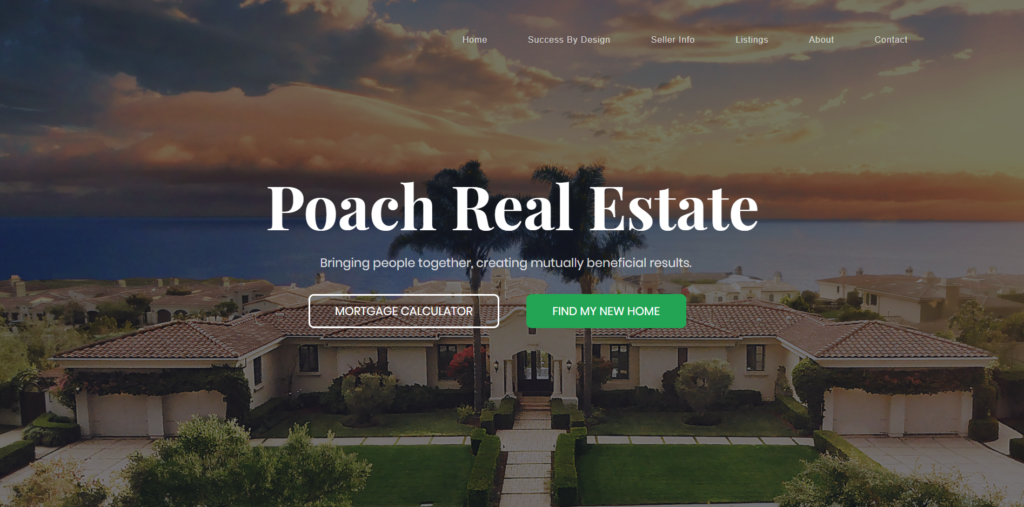 Poach Real Estate website design portfolio from fitfox marketing