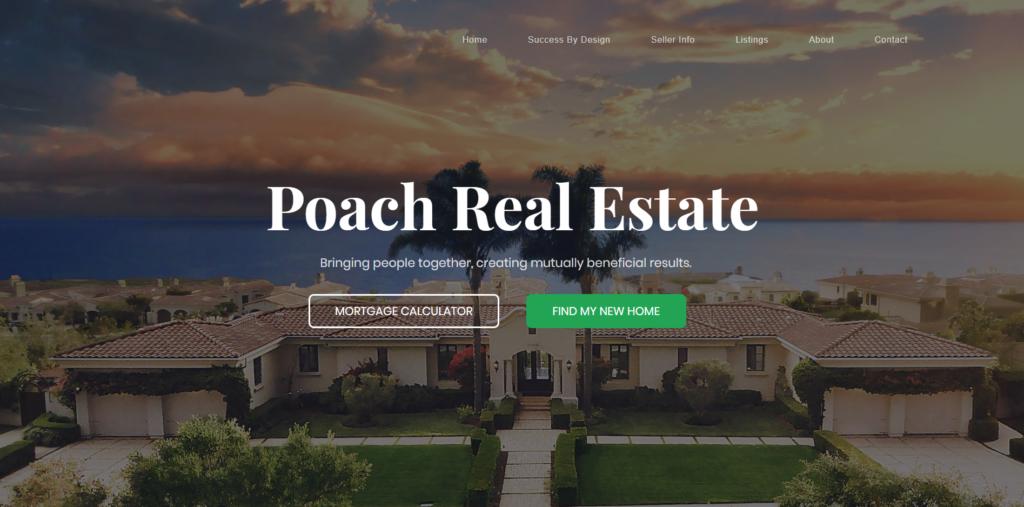 Poach Real Estate website design portfolio from fitfox marketing