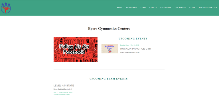 Byers Gymnastics old website design