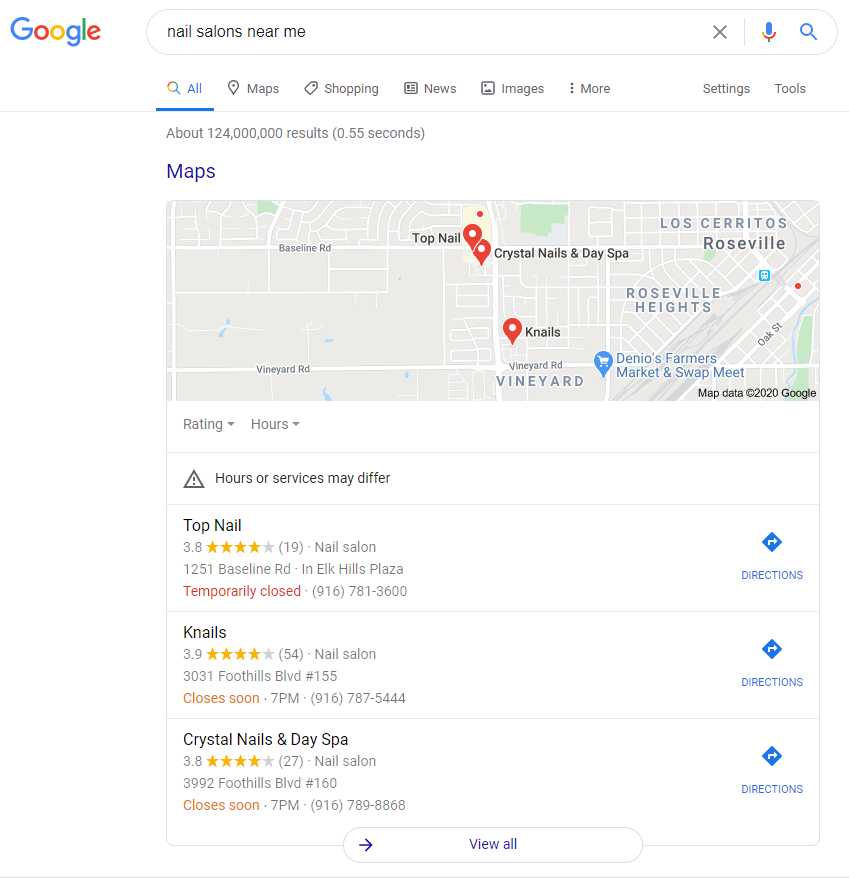 google my business map pack top 3 Google Results