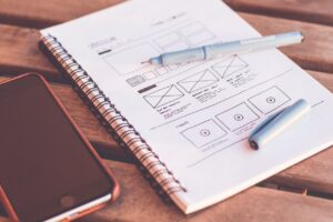 Website design sketches and concept creation
