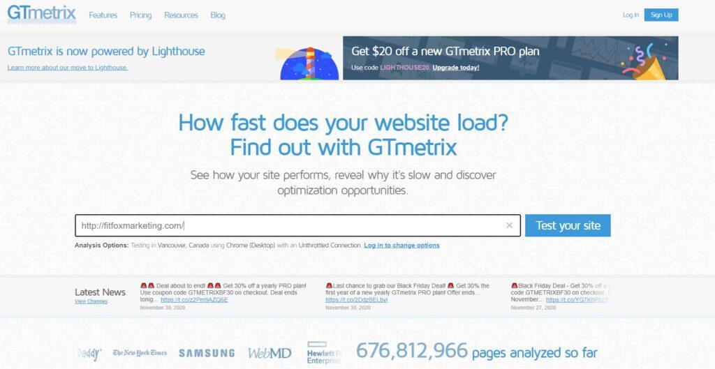 SEO gtmetrix how to optimize gymnastics website speed